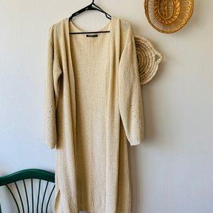 Long Duster Knit Cream Cardigan